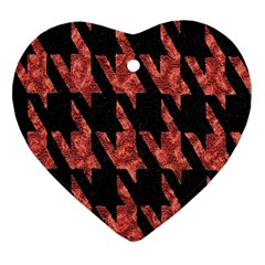 Dogstooth Pattern Closeup Heart Ornament (Two Sides)