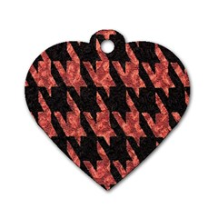 Dogstooth Pattern Closeup Dog Tag Heart (One Side)