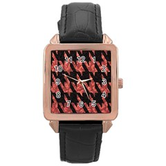 Dogstooth Pattern Closeup Rose Gold Leather Watch