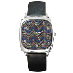 Decorative Ornamental Abstract Square Metal Watch