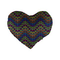 Decorative Ornamental Abstract Standard 16  Premium Flano Heart Shape Cushions