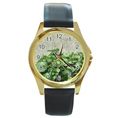 Plants Against Concrete Wall Background Round Gold Metal Watch