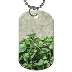 Plants Against Concrete Wall Background Dog Tag (Two Sides)