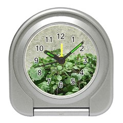 Plants Against Concrete Wall Background Travel Alarm Clocks