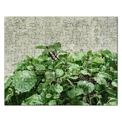 Plants Against Concrete Wall Background Rectangular Jigsaw Puzzl