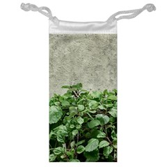Plants Against Concrete Wall Background Jewelry Bag