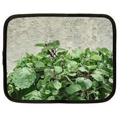 Plants Against Concrete Wall Background Netbook Case (Large)
