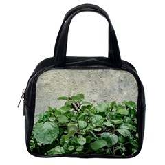 Plants Against Concrete Wall Background Classic Handbags (One Side)