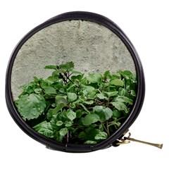Plants Against Concrete Wall Background Mini Makeup Bags