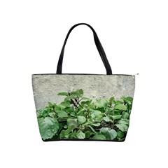Plants Against Concrete Wall Background Shoulder Handbags