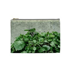 Plants Against Concrete Wall Background Cosmetic Bag (Medium)
