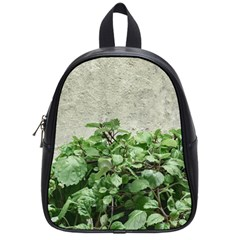Plants Against Concrete Wall Background School Bags (Small)