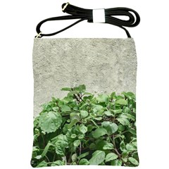 Plants Against Concrete Wall Background Shoulder Sling Bags