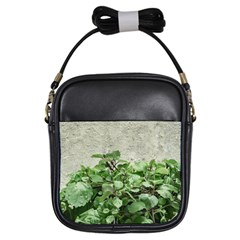 Plants Against Concrete Wall Background Girls Sling Bags