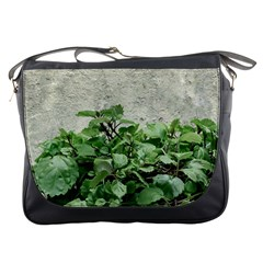 Plants Against Concrete Wall Background Messenger Bags