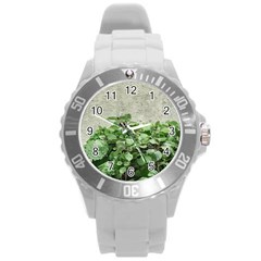 Plants Against Concrete Wall Background Round Plastic Sport Watch (L)
