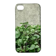 Plants Against Concrete Wall Background Apple iPhone 4/4S Hardshell Case with Stand