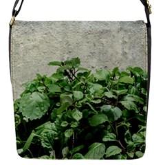 Plants Against Concrete Wall Background Flap Messenger Bag (S)