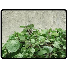 Plants Against Concrete Wall Background Double Sided Fleece Blanket (Large)