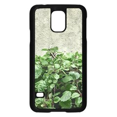 Plants Against Concrete Wall Background Samsung Galaxy S5 Case (Black)