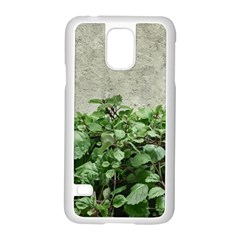 Plants Against Concrete Wall Background Samsung Galaxy S5 Case (White)