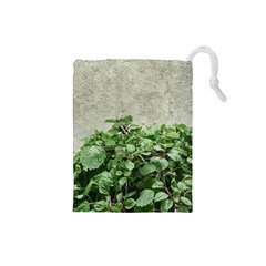 Plants Against Concrete Wall Background Drawstring Pouches (Small)