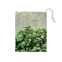 Plants Against Concrete Wall Background Drawstring Pouches (Medium)