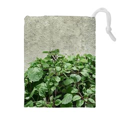 Plants Against Concrete Wall Background Drawstring Pouches (Extra Large)