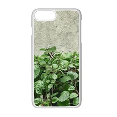 Plants Against Concrete Wall Background Apple iPhone 7 Plus White Seamless Case