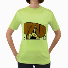 Peeping Brittany Spaniel Women s Green T-Shirt