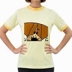 Peeping Brittany Spaniel Women s Fitted Ringer T-Shirts