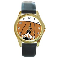 Peeping Brittany Spaniel Round Gold Metal Watch
