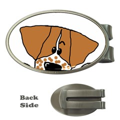 Peeping Brittany Spaniel Money Clips (Oval)