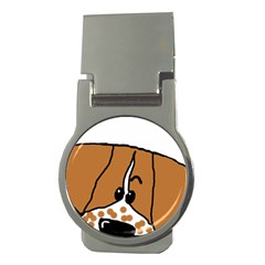 Peeping Brittany Spaniel Money Clips (Round)
