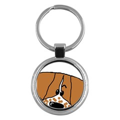 Peeping Brittany Spaniel Key Chains (Round)