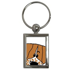 Peeping Brittany Spaniel Key Chains (Rectangle)