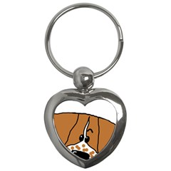 Peeping Brittany Spaniel Key Chains (Heart)