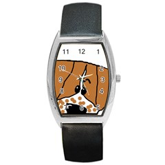 Peeping Brittany Spaniel Barrel Style Metal Watch