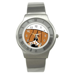 Peeping Brittany Spaniel Stainless Steel Watch