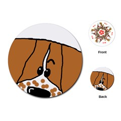 Peeping Brittany Spaniel Playing Cards (Round)