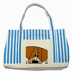 Peeping Brittany Spaniel Striped Blue Tote Bag