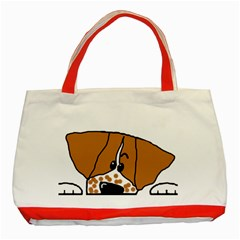 Peeping Brittany Spaniel Classic Tote Bag (Red)