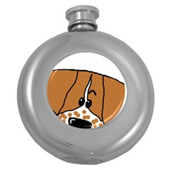 Peeping Brittany Spaniel Round Hip Flask (5 oz)