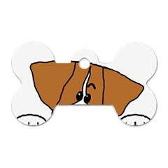 Peeping Brittany Spaniel Dog Tag Bone (One Side)