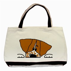 Peeping Brittany Spaniel Basic Tote Bag (Two Sides)