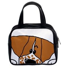 Peeping Brittany Spaniel Classic Handbags (2 Sides)