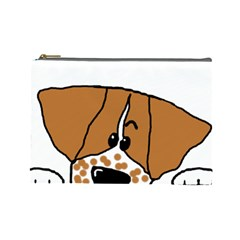 Peeping Brittany Spaniel Cosmetic Bag (Large)