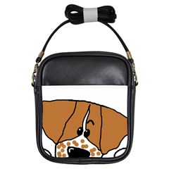 Peeping Brittany Spaniel Girls Sling Bags