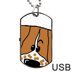 Peeping Brittany Spaniel Dog Tag USB Flash (Two Sides)