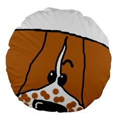 Peeping Brittany Spaniel Large 18  Premium Round Cushions
